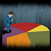 Businessman examining a pie chart, illustration