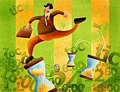 Businessman holding briefcase and running, illustration