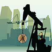 Businessman lifting a coin with a crane, illustration