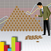 Businessman preserving money, illustration