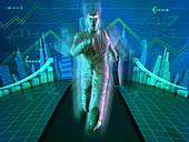 Businessman running with briefcase, illustration