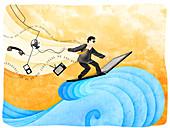 Businessman surfing the net, illustration