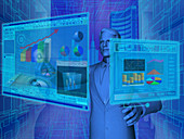 Businessman using virtual screens, illustration