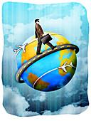 Businessman walking around a globe, illustration