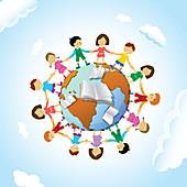 Chain of schoolchildren around the globe, illustration