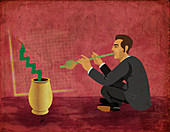 Conceptual illustration of businessman charming snake