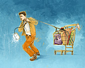 Conceptual illustration of man pulling shopping cart