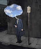 Depressed businessman standing at bus stand, illustration