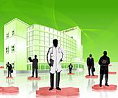 Doctors and medical sales representatives, illustration