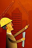 Illustration of an engineer holding blueprints