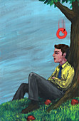 Illustration of apple falling on man's head