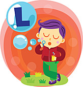 Illustration of boy blowing letter L bubble with bubble wand