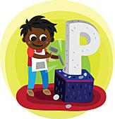 Illustration of boy carving letter P