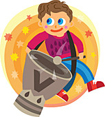 Illustration of boy playing drum over white background