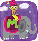 Illustration of boy sitting on elephant with letter M