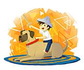 Illustration of boy with sword sitting on dog