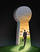 Illustration of businessman going out of keyhole