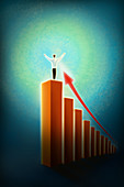 Illustration of businessman standing on bar graph