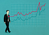 Illustration of businessman with line graph