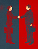 Illustration of businessmen shaking hands over a deal