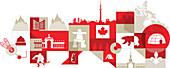 Illustration of Canadian lifestyle over white background