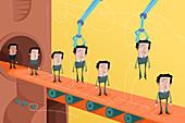 Illustration of candidates on conveyor belt