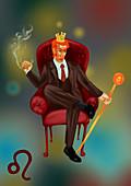Illustration of characteristic of a Leo businessman