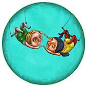 Illustration of children on trapeze