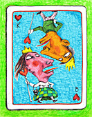 Illustration of couple on playing card