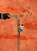 Illustration of determined businessman climbing ladder