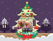 Illustration of family celebrating Christmas