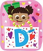 Illustration of girl drawing letter D on paper