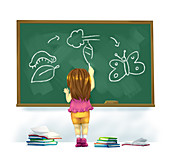 Illustration of girl drawing life cycle of butterfly
