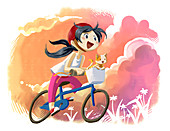 Illustration of girl with cat riding bicycle