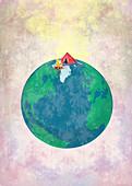 Illustration of global traveller