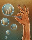 Illustration of hand bursting bubble