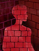 Illustration of man made of bricks