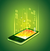 Illustration of mobile phone applications