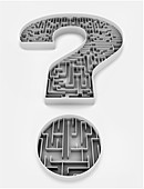 Illustration of question mark with maze