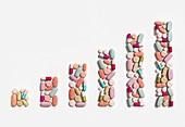 Illustration of rising cost of prescription drugs
