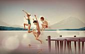 Illustration of siblings jumping in lake