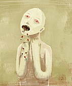 Illustration of sick man vomiting cigarettes