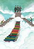 Illustration of students on stack of books