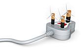 Illustration of three pin plug with wind turbines