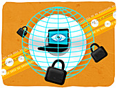 Laptop locked with padlock, illustration