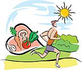 Man jogging, illustration