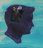 Man yelling into megaphone, illustration