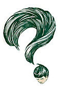Question mark formed with the hair of a person, illustration