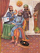 Rajasthani king using a laptop, illustration
