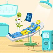Robot surgeon examining robot x-ray, illustration